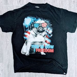 5/$25 Pug Patriotic T Shirt Youth Size Small
